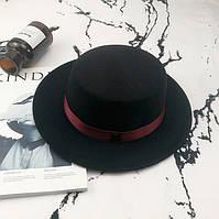 Шляпа женская фетровая канотье в стиле Maison Michel с красной лентой черная