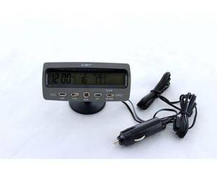Автомобильные часы VST 7045V с термометром и вольтметром Черный (44865)