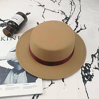 Шляпа женская фетровая канотье в стиле Maison Michel бежевая, фото 1