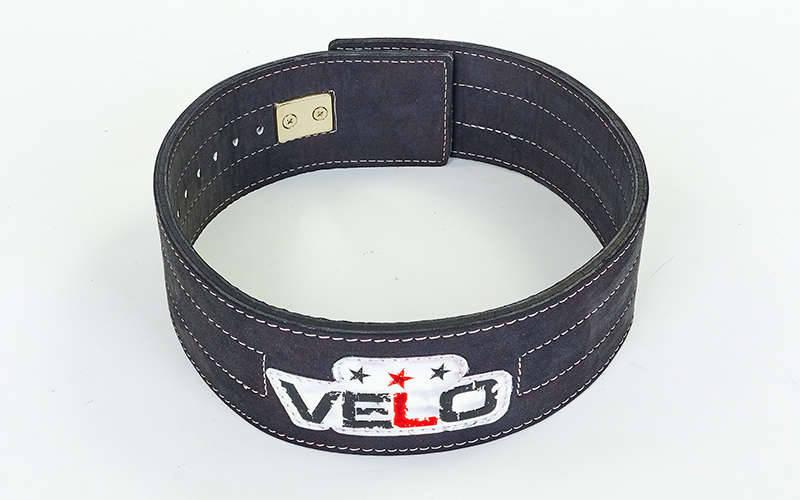 Пояс для пауэрлифтинга кожаный профессиональный с застёжкой-автомат VELO (ширина-9,5см, р-р S-XXL)