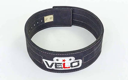 Пояс для пауэрлифтинга кожаный профессиональный с застёжкой-автомат VELO (ширина-9,5см, р-р S-XXL), фото 2