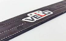 Пояс для пауэрлифтинга кожаный профессиональный с застёжкой-автомат VELO (ширина-9,5см, р-р S-XXL), фото 3