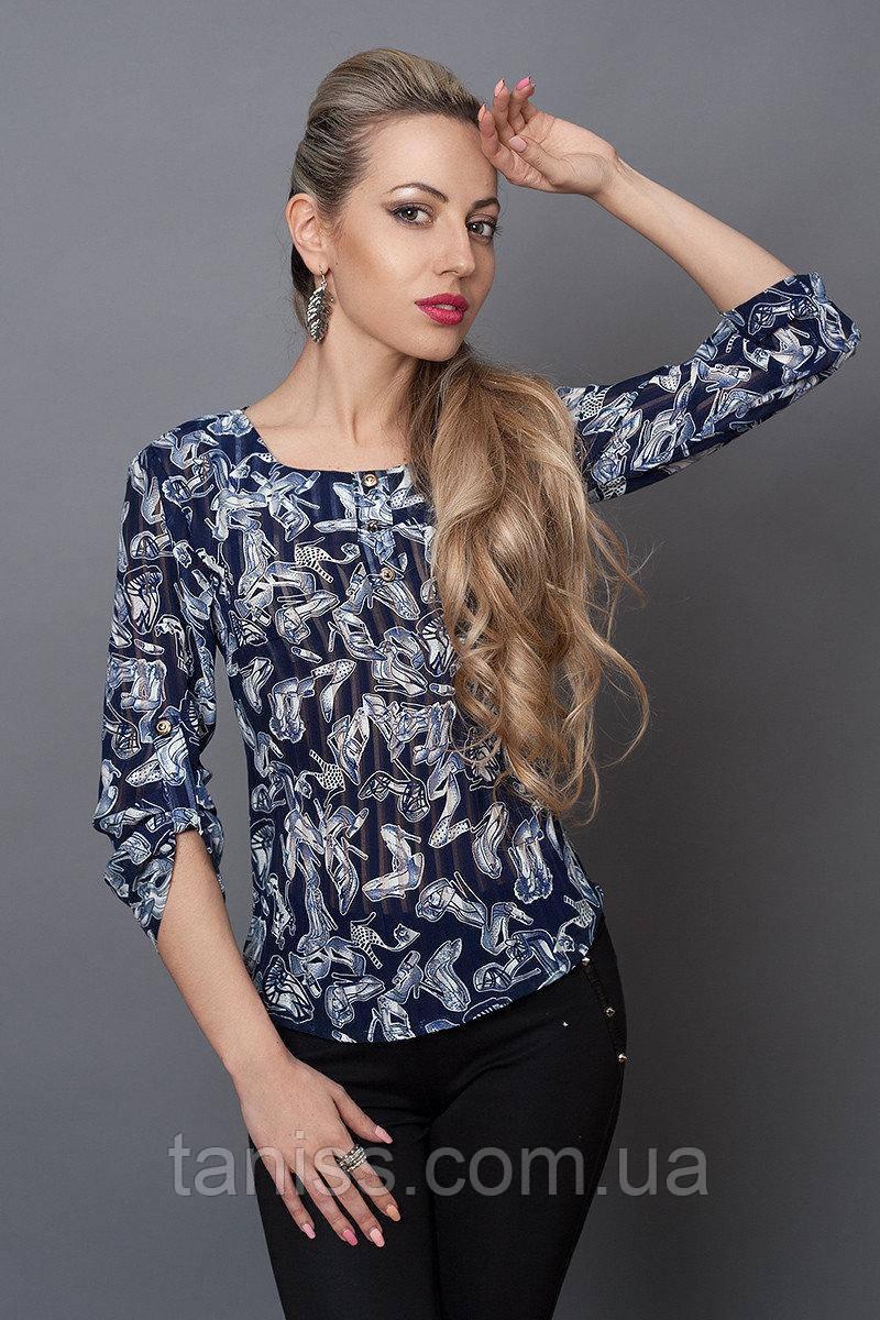 Нарядная деловая женская блузка, ткань шифон, рукав на пуговичке р. 40,42,44,46,48 туфли (493)