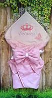 Конверт розовый  на выписку с вышивкой и кружевом  Принцесса, фото 1
