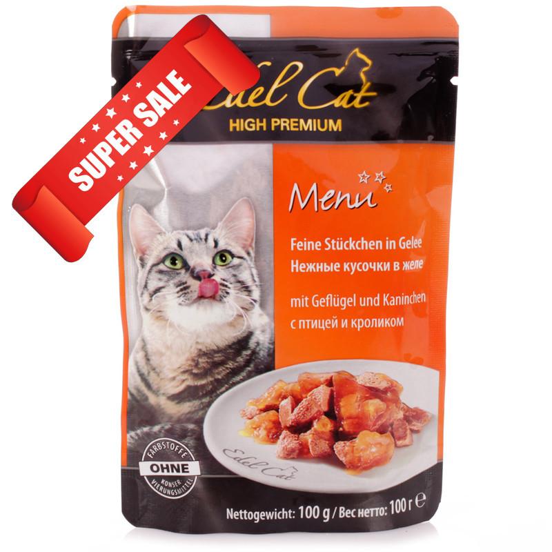 Влажный корм для кошек Edel Cat Нежные кусочки в желе с птицей и кроликом 100 г