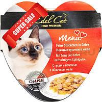 Влажный корм для кошек Edel Cat Нежные кусочки в соусе с гусем и печенью в яблочном желе 85 г