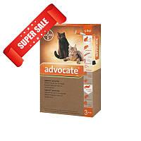Капли на холку от блох и клещей Bayer Advocate для кошек до 4 кг 3 х 0,4 мл