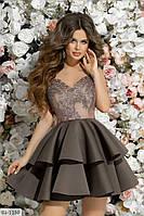 Коктейльное платье на бретельках арт 7235