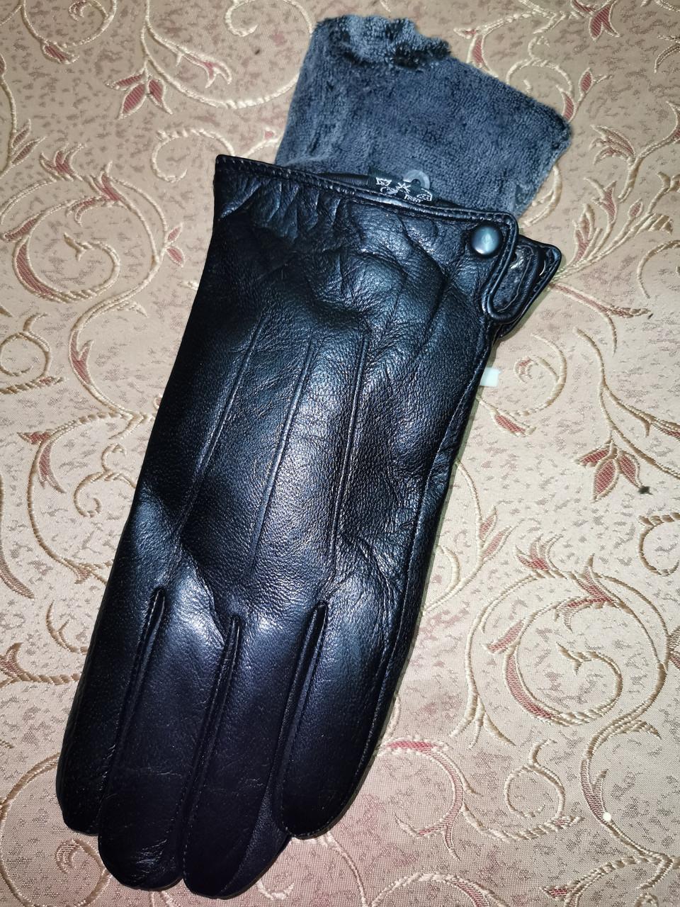 Кожа натуральная с махра мужские перчатки только оптом
