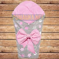 Двухсторонний демисезонный хлопковый конверт плед одеяло с бантом 90*80 на выписку весна осень 4805 Розовый Б