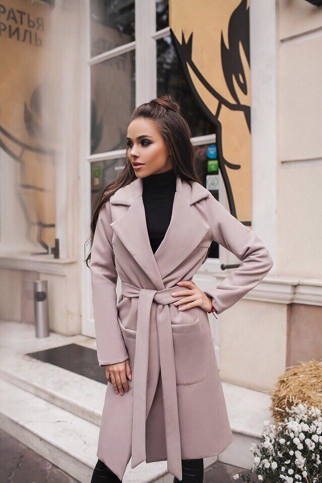 Пальто женское демисезонное на подкладе / кашемир иск. / Украина 45-1042-1, фото 1