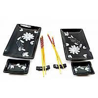 Набор посуды для суши Черный с цветами