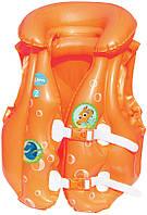 Жилет надувной ярко-оранжевый, с картинками из «Немо», на застёжках, регулируется по размеру, 3-хкамерный