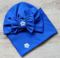 Шапка детская и снуд, комплект весна-осень (синий)