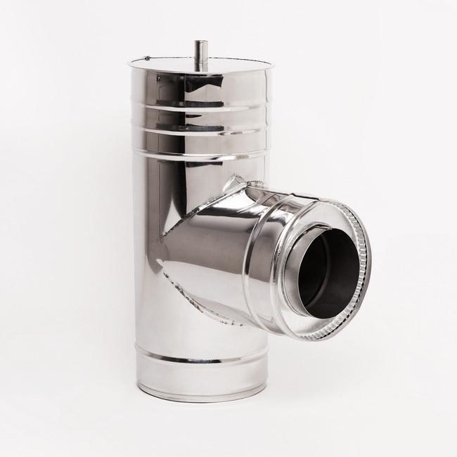 Тройник для дымохода Витан нержавейка в оцинковке 90° d160/220 мм