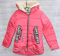 """Куртка зимняя подростковая на овчине, на девочку 134-146 см (2цв) """"VANILLA"""" недорого от прямого поставщика"""
