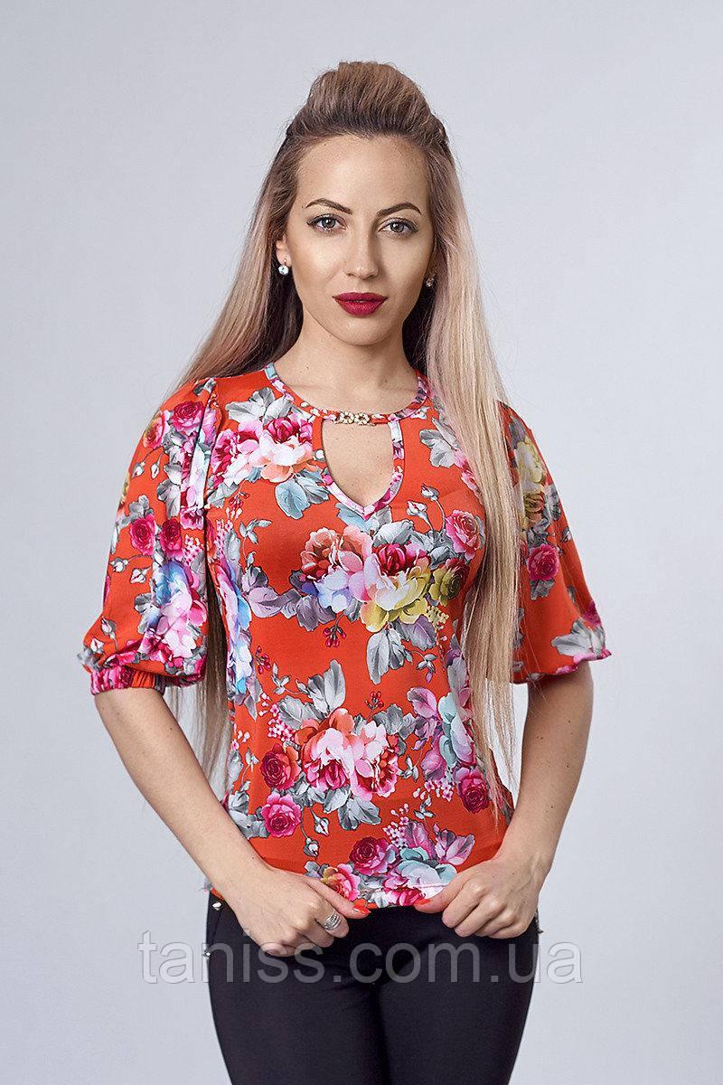 Нарядная молодежная деловая блузка, ткань микромасло, на спинке вырез, р.46,48,50 красный (225)