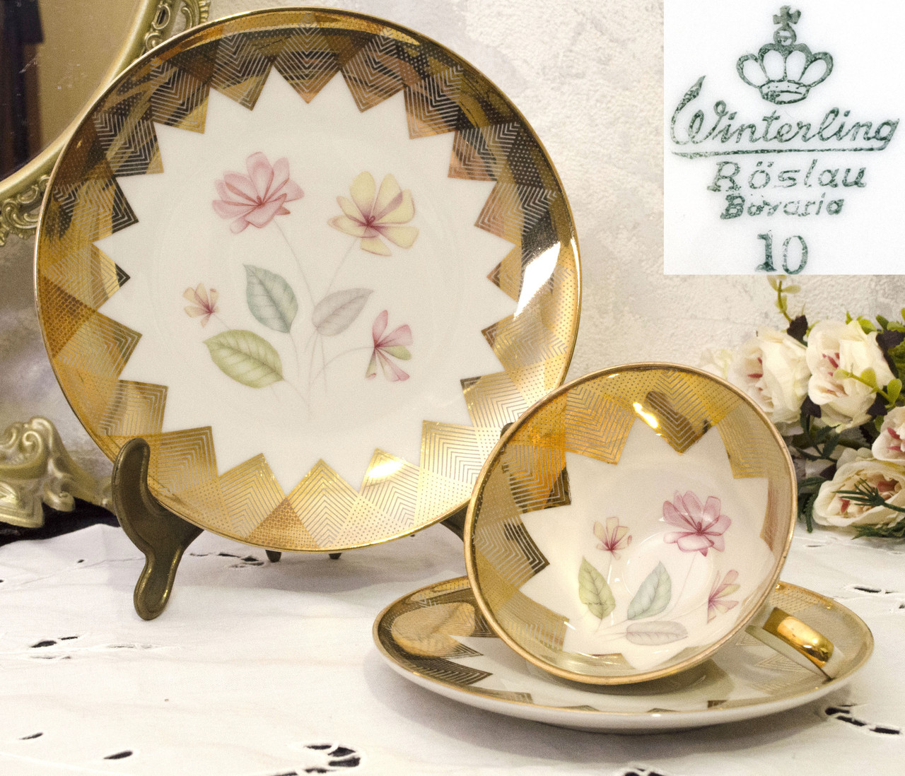Винтажная фарфоровая чайная тройка, чашка, блюдце, тарелка, Winterling Roslau, Германия, фарфор, скол