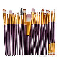 Набор кисточек  для макияжа из 20 шт цвет фиолетовые с золотым