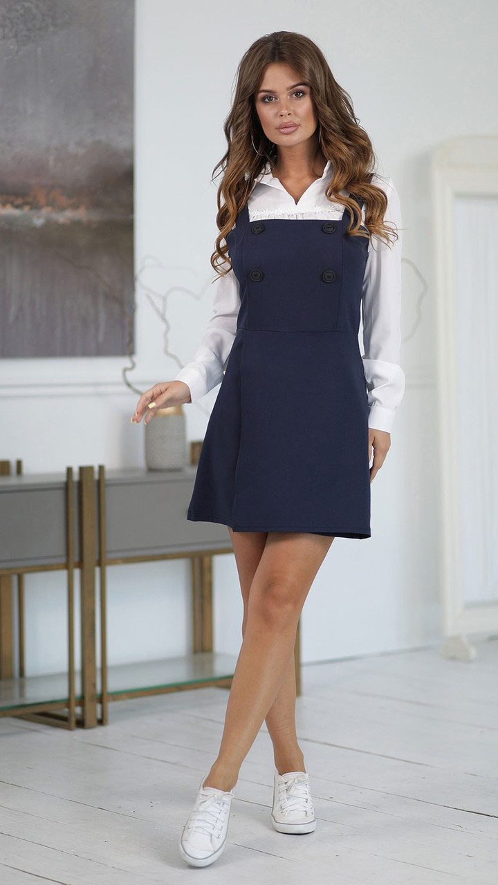 Темно-синий Комбинезон юбка-шорты