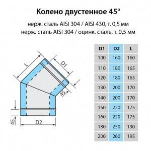 Колено для дымохода Витан нержавейка в оцинковке 45° d130/200 мм