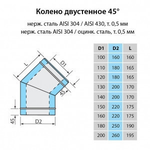 Колено для дымохода Витан нержавейка в оцинковке 45° d200/260 мм