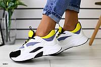 Женские белые кроссовки с серыми, черными и желтыми вставками 36, фото 1