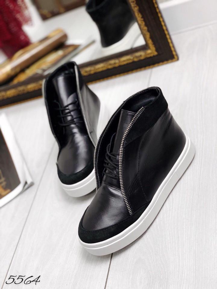 Ботинки копия Casual Dsqu@red2 чёрные натуральная кожа/замш В наличии и под заказ