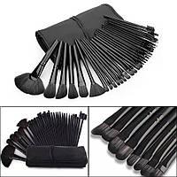 Набор кисточек  для макияжа из 32 шт с чехлом, черные