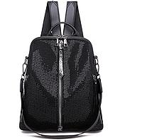 Сумка женская рюкзак ранец черный повседневный стильный с потайным карманом