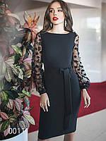 Платье для торжества из креп-костюмки, 00111 (Черный), Размер 42 (S)
