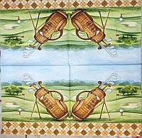 """Салфетка декупажная 33x33см 23 """"Клюшки для гольфа""""(товар при заказе от 500грн)"""