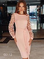 Вечернее платье до колена с длинным прозрачным рукавом