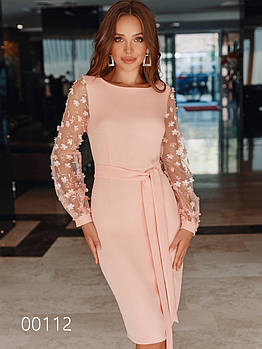 Вечернее платье до колена с длинным прозрачным рукавом, 00112 (Персиковый), Размер 44 (M)