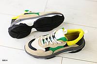 Женские бежевые замшевые кроссовки, фото 1