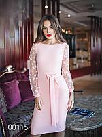 Коктейльное платье с разрезом сзади и длинными рукавами, 00115 (Розовый), Размер 44 (M)