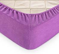 Плотная махровая простынь на резинке 180*200*25 Турция Moz + наволочки Цвет Фиолетовый