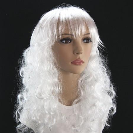 Парик  длинный белый  волнистый 62 см.