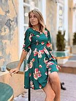 Яркое стильное платье с красивым принтом, размеры: S (42-44), M (44-46), красный, зеленый, синий