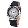 Женские часы с черным ремешком Цветок лотоса код 499