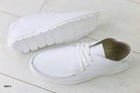 Мужские мокасины, кожаные, белые, на шнурках