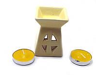 Аромалампа керамическая ,подарочный набор желтая (12х8,5х7см) ЗП-32391A