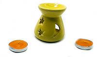 Аромалампа керамическая ,подарочный набор желтая (12,5х8х7см) ЗП-32389A
