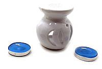 Аромалампа керамическая ,подарочный набор белая (12х8х7см) ЗП-32390A
