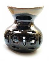 "Аромалампа керамическая ""2 монеты"" черная (9х9х9 см) ЗП-32189A"