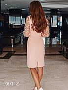 Вечернее платье до колена с длинным прозрачным рукавом, 00112 (Персиковый), Размер 44 (M), фото 2