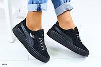 Женские черные кожаные кроссовки, фото 1