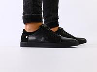 Мужские спортивные туфли черные, кожанубук