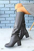 Женские зимние сапоги-европейка из натуральной кожи, фото 1