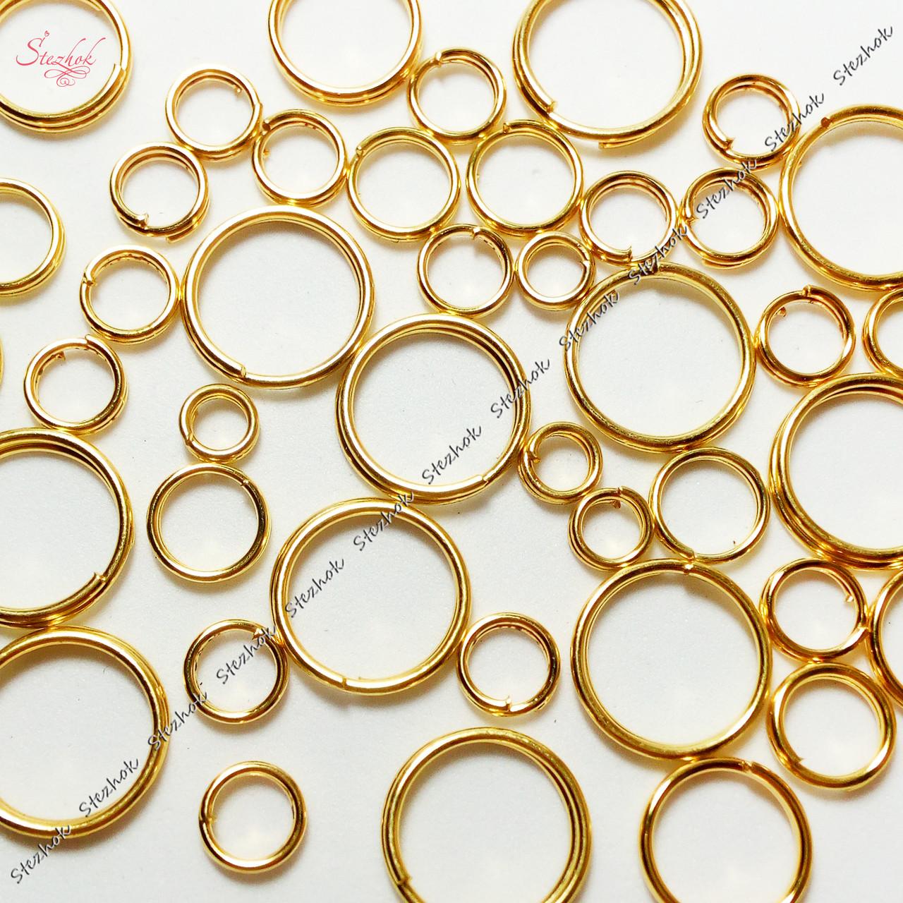 Металлическое кольцо соединительное разъемное два витка золото для рукоделия мм
